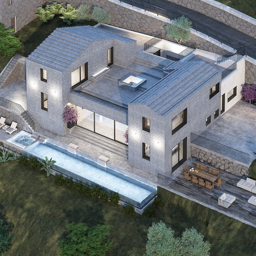 Villa Molli Birds Eye View (Rendering)